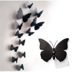 Motylki 3D /12 szt. czarne
