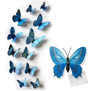 Motylki 3D PCV /12 szt. niebieskie wzory