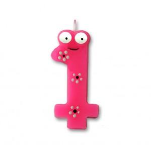 """Świeczka urodzinowa """"1"""" różowa stworek"""