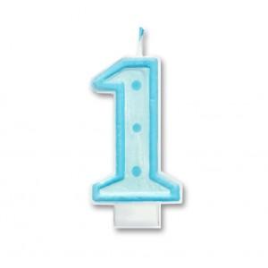 """Świeczka urodzinowa """"1"""" niebieska / kropki"""