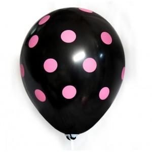 Balon / czarny w różowe grochy 100 szt.