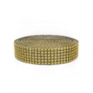 Taśma ozdobna złota/cyrkonie 3 cm/9,1 mb
