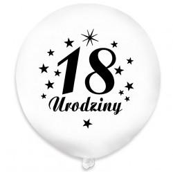 """Balon urodzinowy NAPIS / """"18"""" biały 100 szt."""
