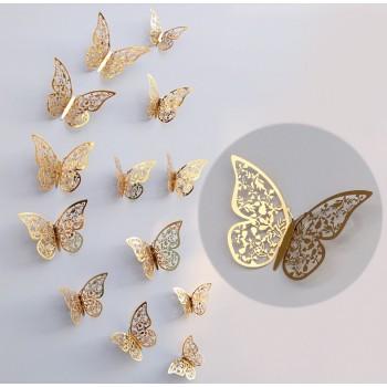 Motylki 3D /12 szt. złote/metaliczne