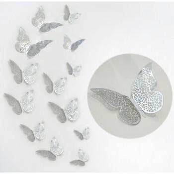 Motylki 3D /12 szt. srebrne/metaliczne