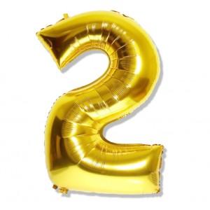 """Balon cyfra złota """"2"""" 40 cm"""