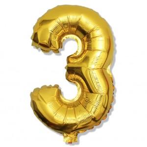 """Balon cyfra złota """"3"""" 40 cm"""