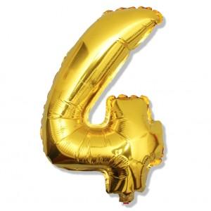 """Balon cyfra złota """"4"""" 40 cm"""