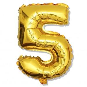 """Balon cyfra złota """"5"""" 40 cm"""