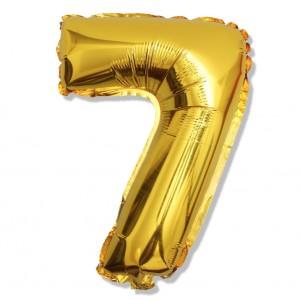 """Balon cyfra złota """"7"""" 40 cm"""