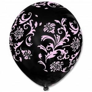 Balon / czarny w różowe wzorki 100 szt.
