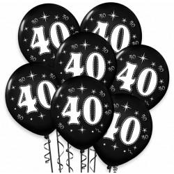 """Balon urodzinowy / """"40"""" metaliczny czarny 100 szt."""