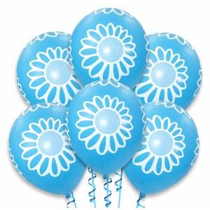 Balon niebieski / białe kwiatki 100 szt.