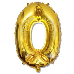 """Balon cyfra złota """"0"""" 75 cm"""