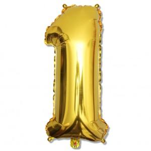 """Balon cyfra złota """"1"""" 75 cm"""