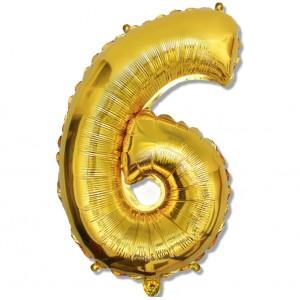 """Balon cyfra złota """"6"""" 75 cm"""