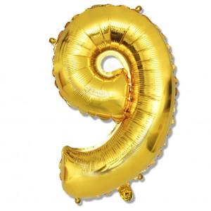 """Balon cyfra złota """"9"""" 75 cm"""