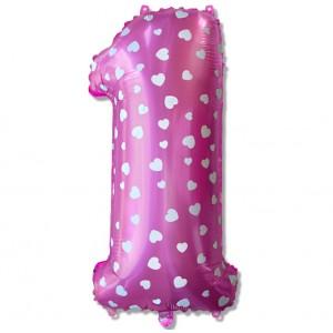 "Balon cyfra różowa ""1"" 75 cm"