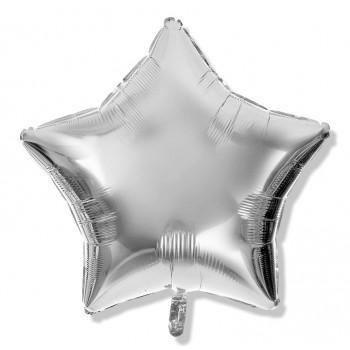Balon gwiazdka 25 cm / foliowy / srebrny