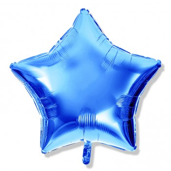 Balon gwiazdka 45 cm / foliowy / niebieski