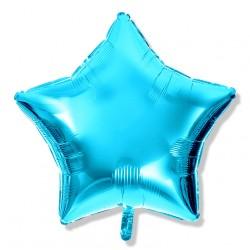 Balon gwiazdka 45 cm / foliowy / j. niebieski metaliczny