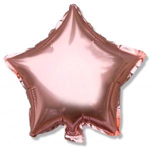 Balon gwiazdka 25 cm / foliowy / różowe złoto