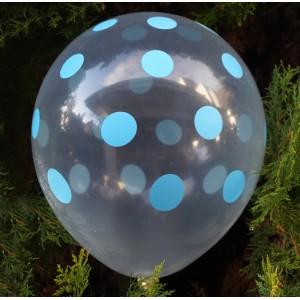 Balon dekoracyjny, przeźroczysty / niebieskie grochy 100 szt.