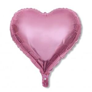 Balon serce 60 cm / foliowy / metaliczny róż