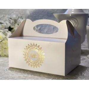Pudełko na ciasto  komunia 50 szt. GOLD PRINT
