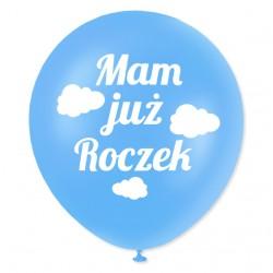 Balon dekoracyjny, niebieski / Mam już roczek - biały 100 szt.