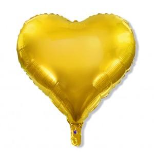Balon serce 60 cm / foliowy / złoty