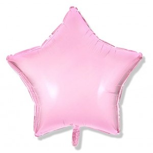 Balon gwiazdka 45 cm / foliowy  / różowy, pastelowy pudrowy