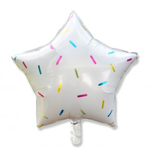 Balon gwiazdka 45 cm / foliowy / kolorowe konfetti