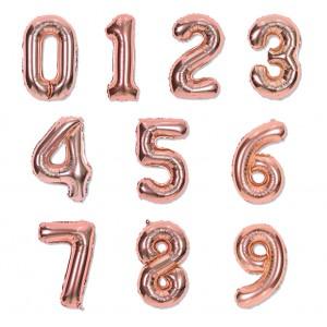 """Balon cyfra różowe złoto """"0"""" 40 cm"""