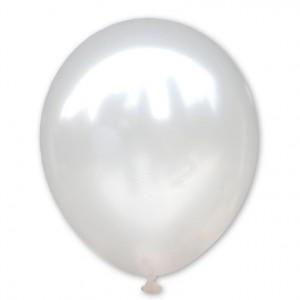Balon metaliczny 30 cm WHITE biały / mocny/100 szt.