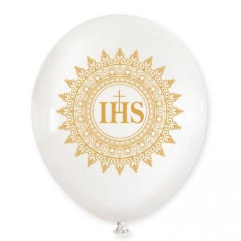 Balon Komunia / biały, złoty nadruk / mocny