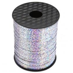 Wstążka / tasiemka dekoracyjna, holograficzna srebrna, metaliczna do balonów