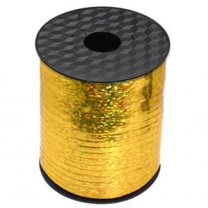 Wstążka / tasiemka dekoracyjna, holograficzna złota, metaliczna do balonów