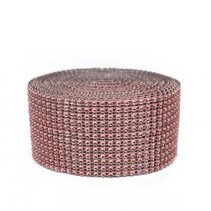 Taśma ozdobna/cyrkonie ROSE GOLD, różowe złoto 6cm/9,1 mb