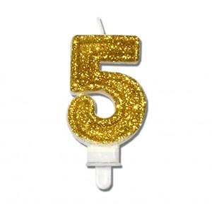"""Świeczka urodzinowa """"5"""" złota mocny brokat"""