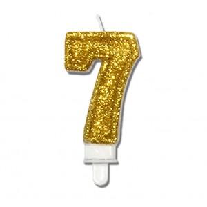 """Świeczka urodzinowa """"7"""" złota mocny brokat"""