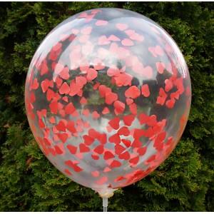 Balon przeźroczysty / konfetti czerwone serca 100 szt.