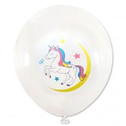 Balon dekoracyjny, biały / tęczowy  jednorożec 100 szt.
