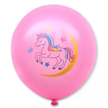 Balon dekoracyjny, różowy / tęczowy  jednorożec 100 szt.