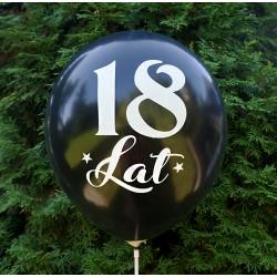 """Balon urodzinowy / """"18 lat"""" metaliczny czarny 100 szt."""