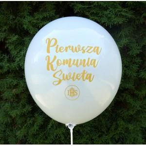 Balon Komunia / biały, złoty nadruk / mocny/ 100 szt.