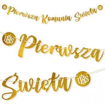 Komunia Św. metaliczne złoto / baner 213 cm