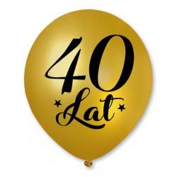 """Balon urodzinowy / """"40 lat"""" metaliczny złoty 100 szt."""