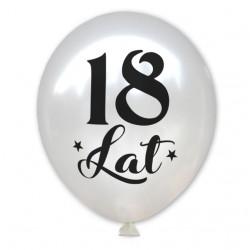 """Balon urodzinowy / """"18 lat"""" metaliczny biały 100 szt."""