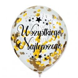 """Balon przeźroczysty """"Wszystkiego Najlepszego"""" + konfetti złote metaliczne 100 szt."""